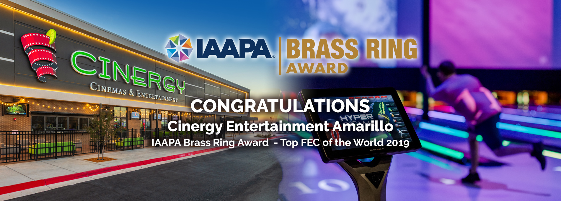 QubicaAMF Bowling Brass Ring Award 2019 Cinergy Amarillo