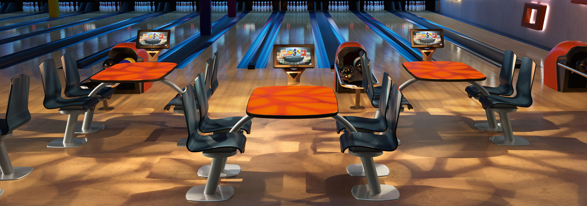 Attractive Bowling QubicaAMF Furniture Harmony Table Collection Banner2